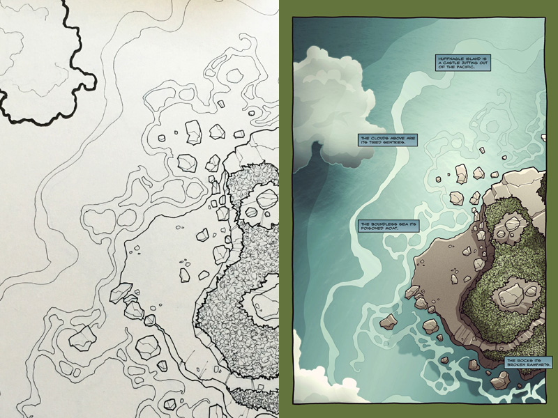 An aerial view of Huffnagle began the third chapter of the comic.