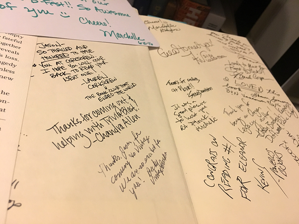 The endpapers, front and back, are signed by the various booksellers, store owners, librarians, and event organizers who hosted me.
