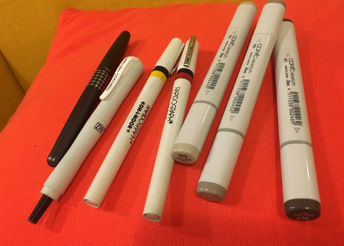 My everyday pens — the Cocoiro, Metropolitan, Rapidographs, and Copics