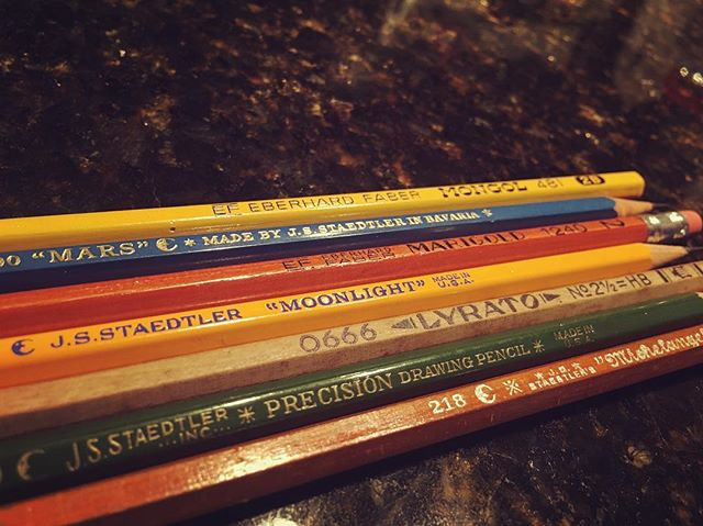 "A few more additions to the old pencil collection! Related: I let Squish pick a bunch of pencils from the hoard to take to school with her, and now she can't stop talking about how ""tonight is like the coolest night"" and ""I think that we are both like pencil buddies now, or something."""