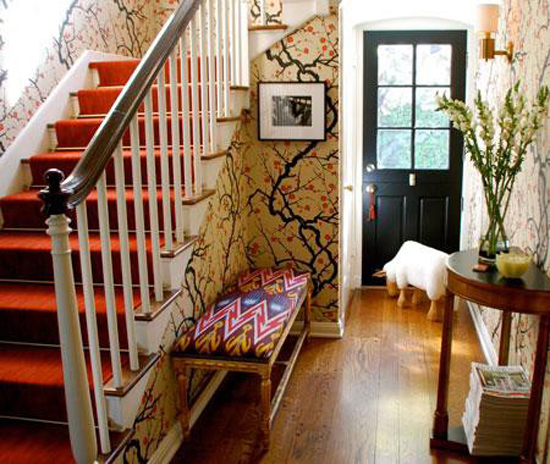 Cherry blossom wallpaper with touches of brown and red is beautiful.  Canadian House and Home.