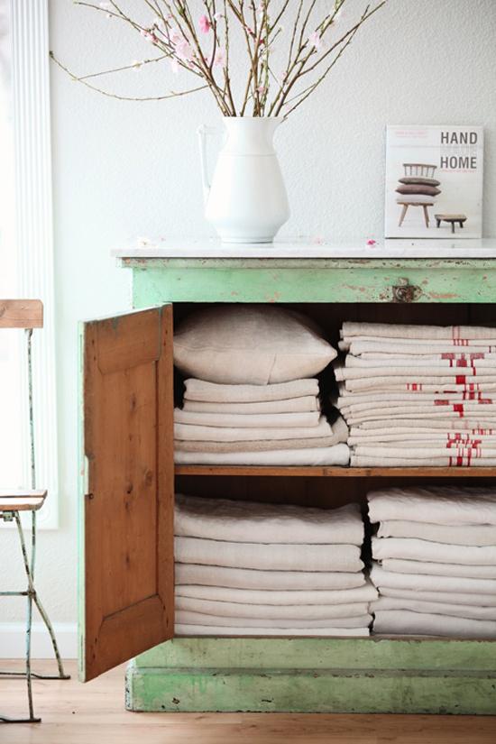 vintage green linen