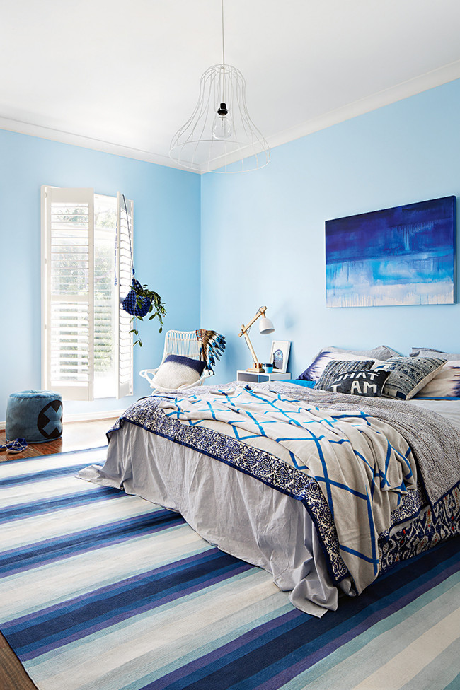 Sky blue walls.  Photo, Armelle Habib. Styling, Julia Green.   Get this Look: Fountain Mist,  CIL paint.