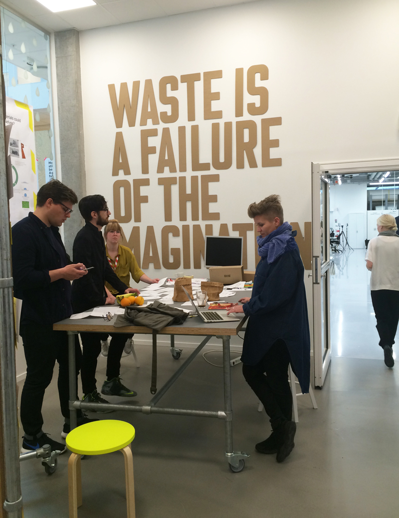 While we were touring the building, a design charrette was taking place. Students and designers were trying to come up with ways to turn waste into something useful.