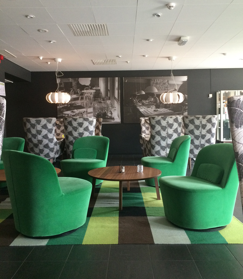 Finally, where else would we stay but at the IKEA hotel. The lobby was outfitted in shades of emerald and black obviously all furnished with IKEA furniture.