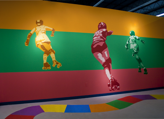 Chasing the Rainbow (sherbet) & Monkey Limbo · latex mural installation · Redux Contemporary Art Center · 2010