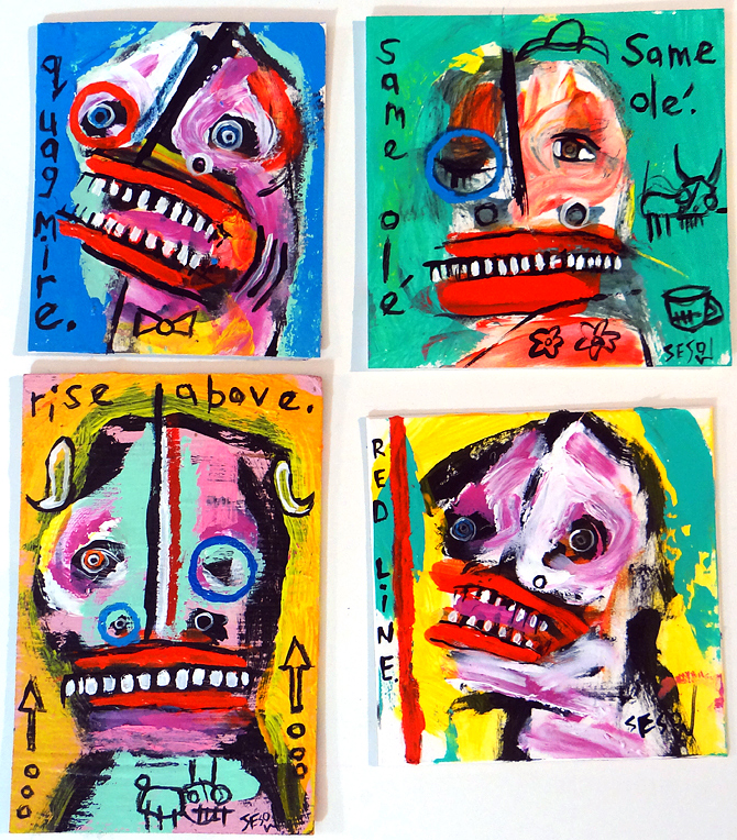 "Small Matt Sesow original painting  acrylic/mix on matboard // approx. 4"" x 8"" (varies)"
