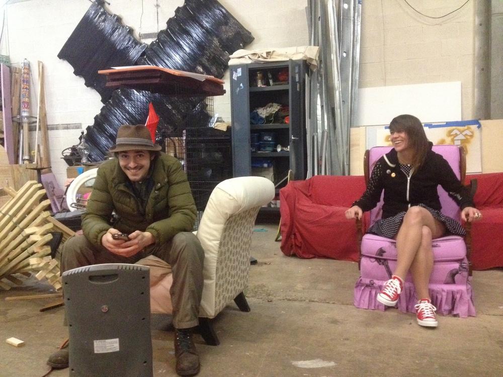 Dan Gray's pink gun chair is Alicia's favorite thing in her studio.