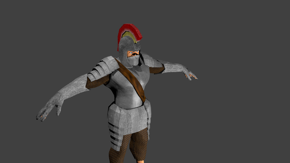 I really do enjoy all aspects of game Art, but before Shibe Warz I never really took any time necessary to fully appreciate how much work goes into character modeling.  This character you see here was blocked in very roughly (and with an ultra-low poly-count) in Blender before being exported to the freeware program Sculptris.  In Sculptris, I was able to subdivide the polygons on this model several times, giving it tons more polygons and myself the ability to add a lot of detail to the body and musculature.  From there I exported it back into Blender and built the armor pieces from scratch around the body, exporting the UV's to the freeware (spot a pattern...?) GIMP and making the textures from scratch.