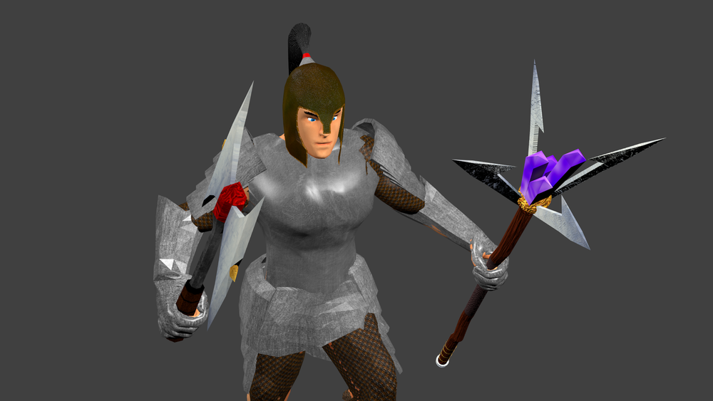 You can also mix-n-match helmets and boots between equipment sets.  The weapon you see in the character's left hand is the Wizard Staff, which confers huge bonuses to spells cast.