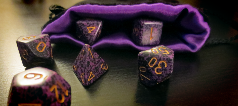 No Dungeon Master worth his weight in geldings goes anywhere without his... twenty-sided die...