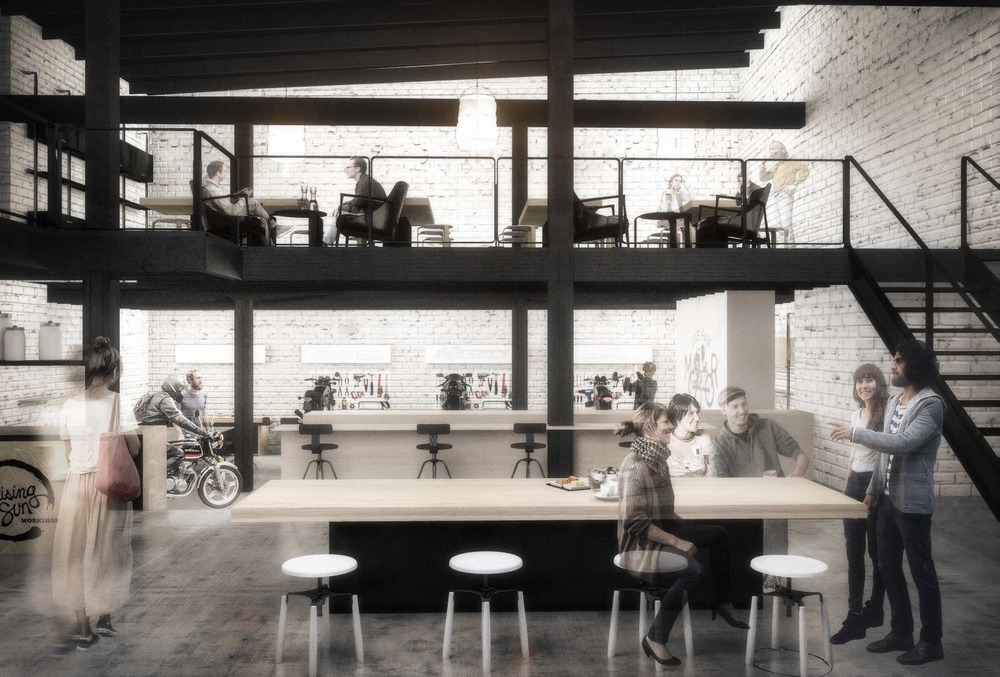 RENDER OF THE SAME VIEW LOOKING FROM THE KITCHE TO THE WORKSHOP AND CAFE SEATING