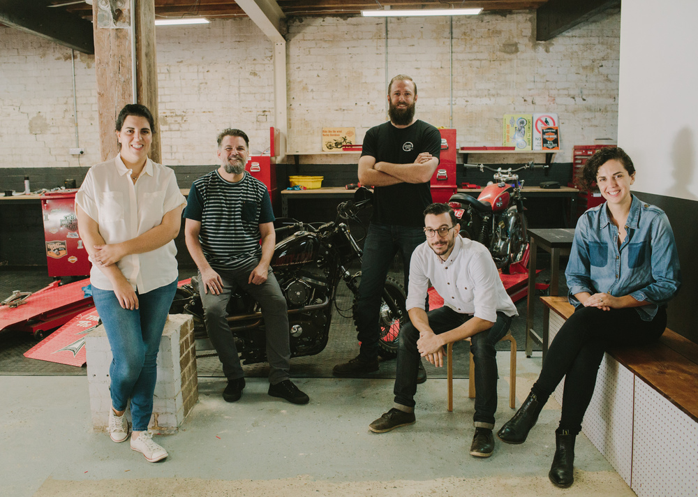 From left: Dimity genaus (resident baker), nick smith (chef), adrian sheather (workshop), daniel cesarano (coffee), heleana genaus (design & comms)
