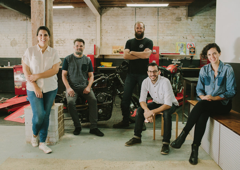 FROM LEFT: RSW FOUNDERS, DIMITY GENAUS (RESIDENT BAKER), NICK SMITH (CHEF), ADRIAN SHEATHER (WORKSHOP), DANIEL CESARANO (COFFEE), HELEANA GENAUS (DESIGN & COMMS)