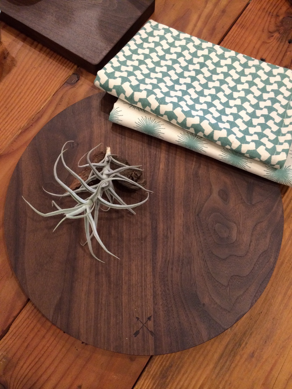 Round Board with Arrows (shown with Pehr St. tea towels and an air plant)