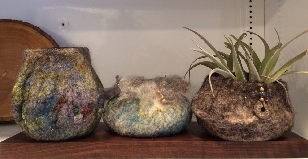 Trio of hand-made felt vessels