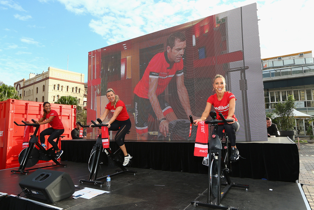 Ready to Break a World Record with Cadel Evans joining us from Milan on the big screen!!! Image by Getty Images