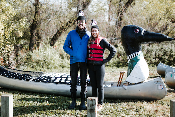 Joe and Simone with their Loon Canoe.