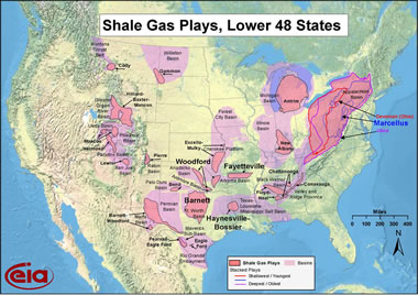 United States Shale Gas Map