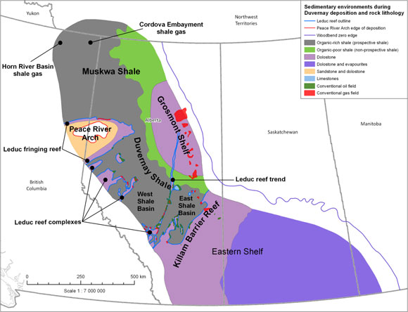 Map of Duvernay Shale