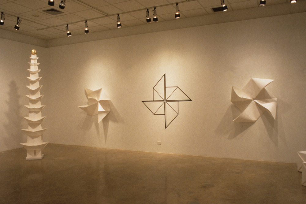 Installation view of  The Art of Chinese Paper Folding,  2001, Medicine Hat Museum and Art Gallery, Medicine Hat, Alberta, Canada