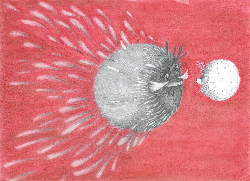 ENCUENTRO. Pastel y grafito. 0,7 x 0,5 m