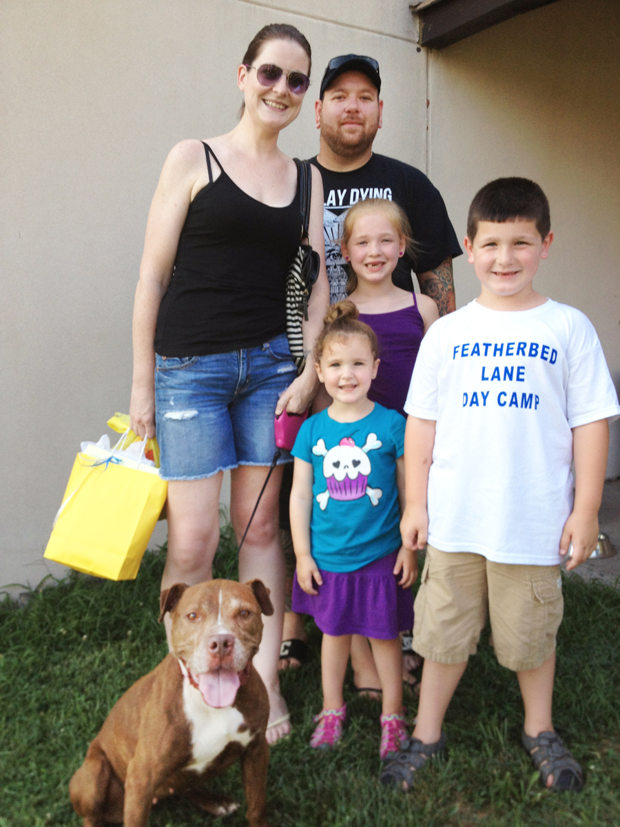 "Beauty (now ""Bailey"") with her new family"