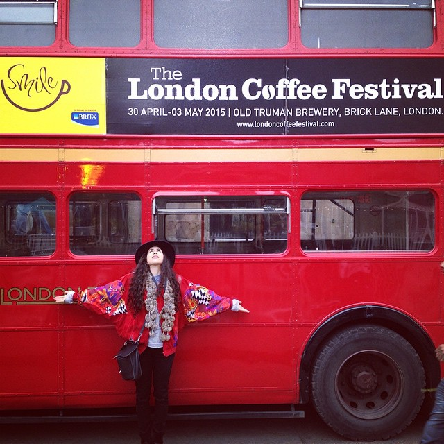 @londoncoffeefestival @coffeemusicproject #bus #london #smile #redjacket #fashion #photography #moment #festival #people