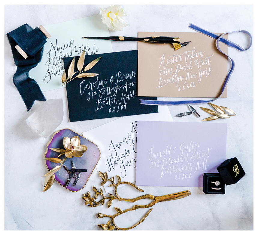 Envelope calligraphy for guest addresses