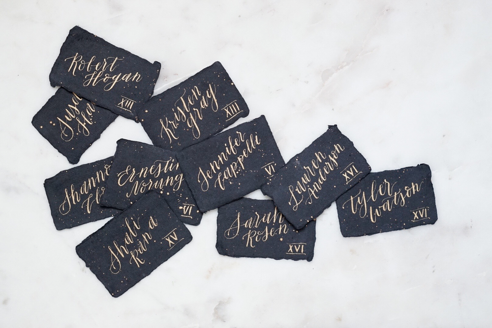 Calligraphy Place Cards on Black Deckled Edge Paper