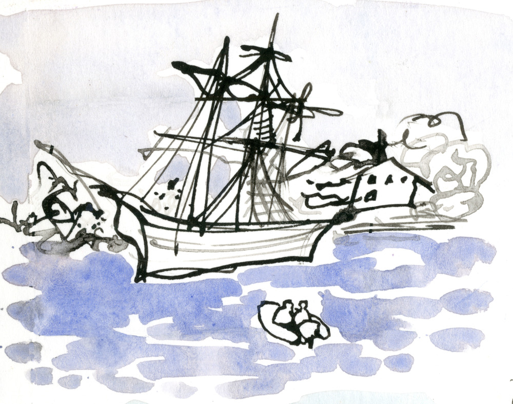 Drawing made while watching the Morgan from a ferry. © Carly Larsson 2014