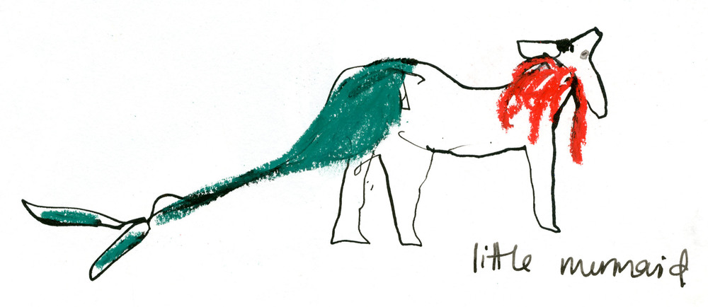 Little Mermaid dog (had a Flounder counterpart) © Carly Larsson