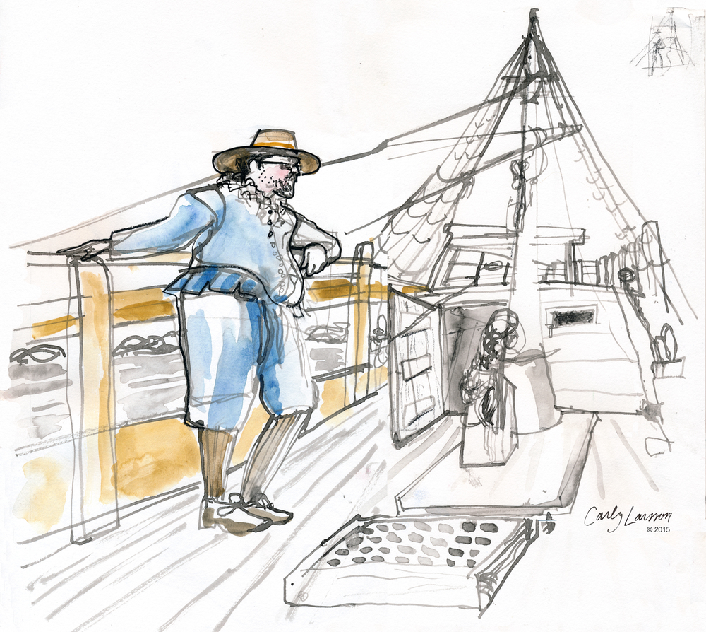 The ship's purser, Master Williamson on the half deck of the Mayflower II.
