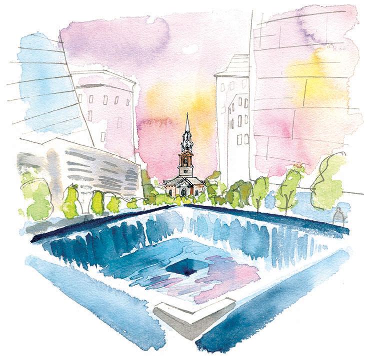 september  - 9/11 memorial reflecting pool