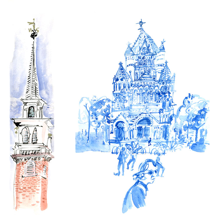 Old North Church in the North End (left) and Trinity Church in Copley Square (right)