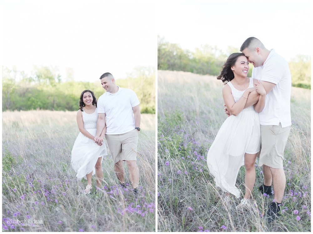Wildflower field and white dress engagement photos