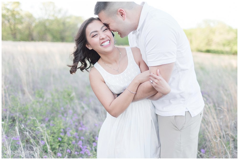 engagement session in a field of wildflowers - kansas city