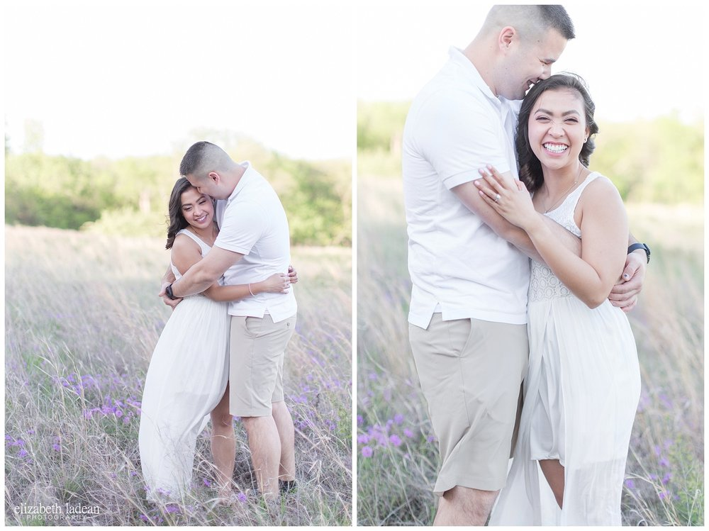 kansas city engagement session in a field of wildflowers