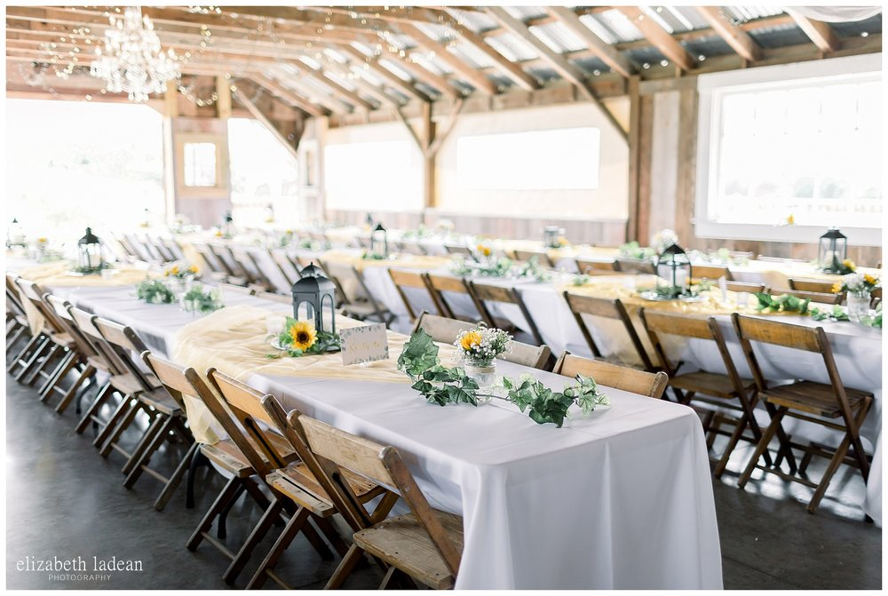 Farm table setup for wedding reception