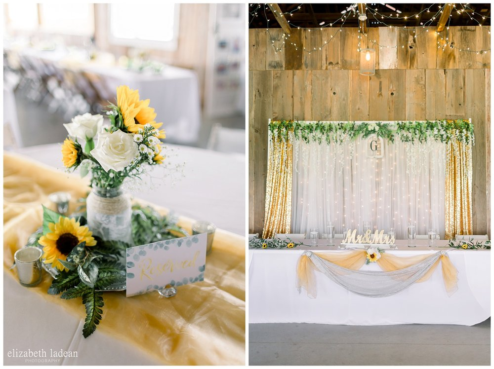 Sunflower themed wedding reception decoration