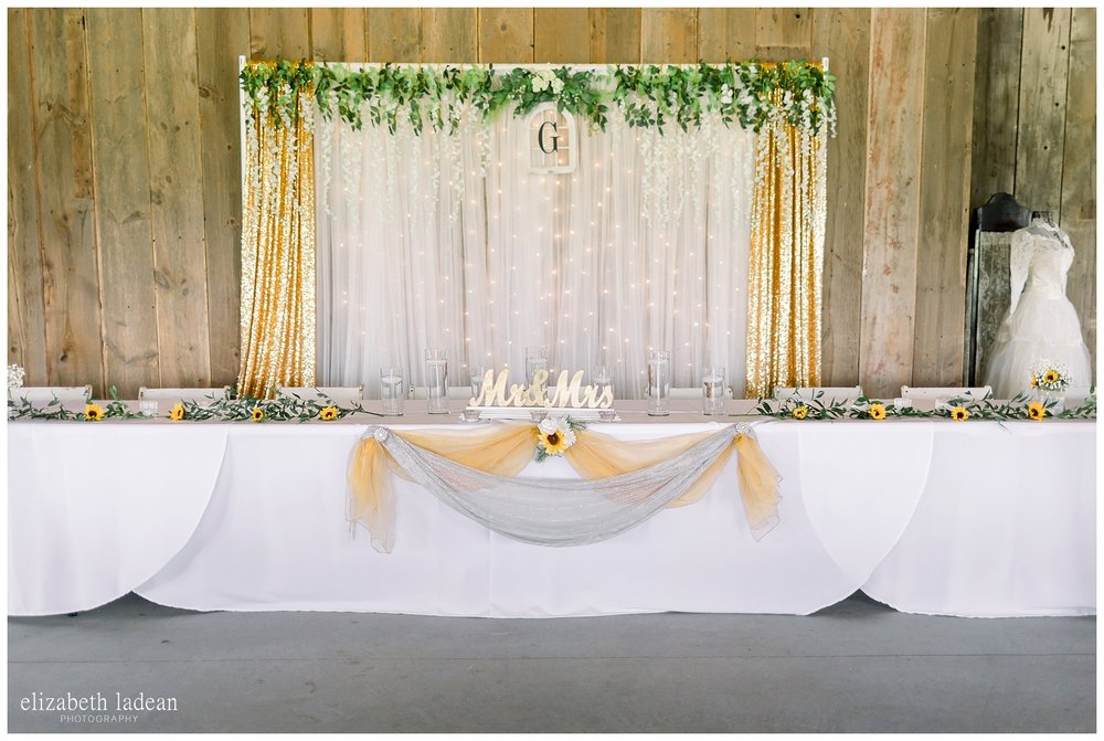 Barn style wedding head table setup and decoration