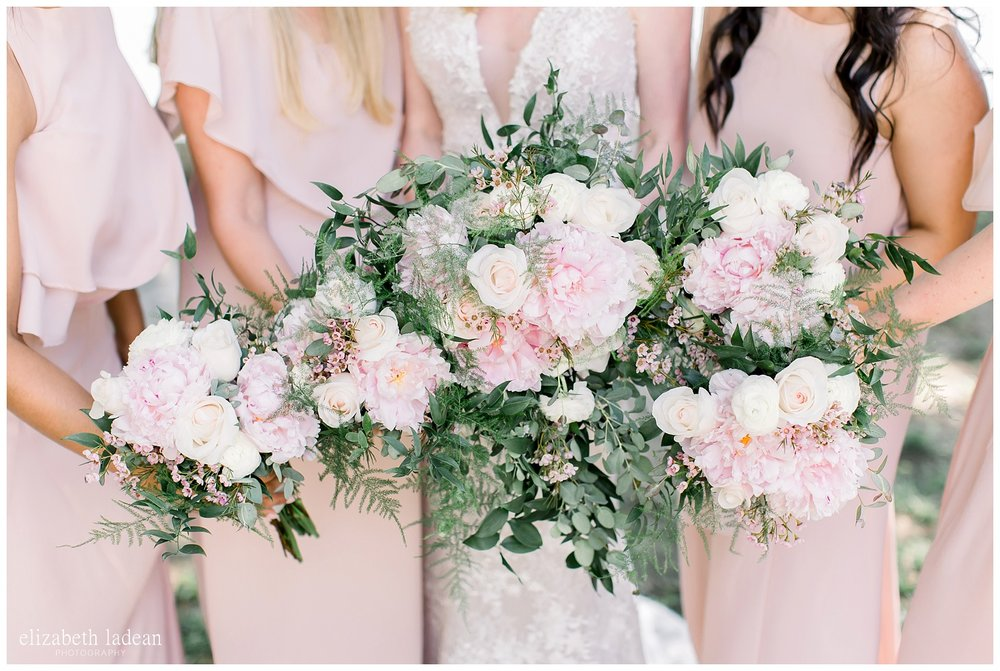 blush and greenery bouquets