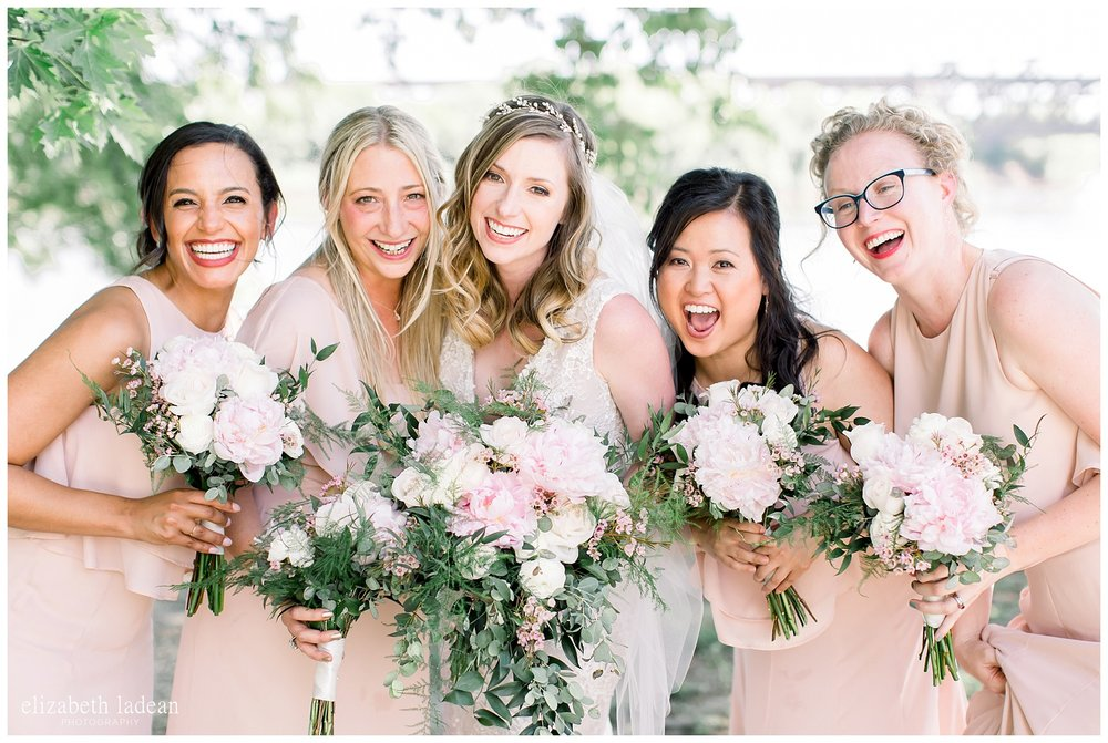 blush and light pink bridesmaids and bouquets