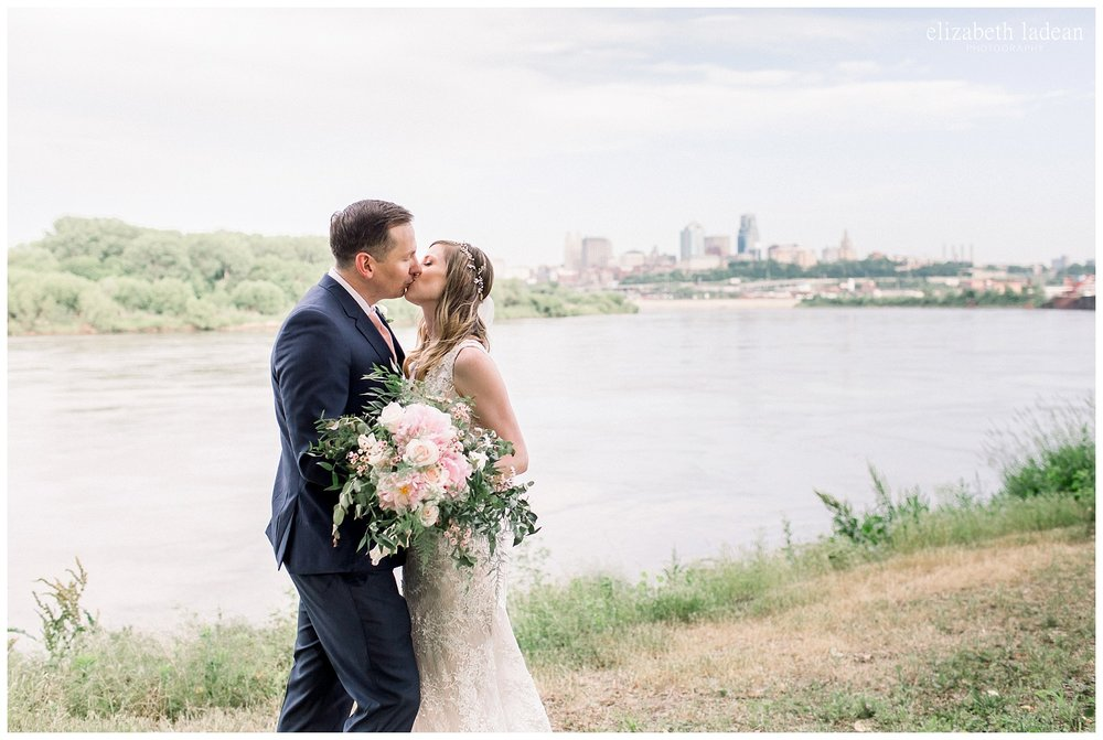 Missouri River bride and groom portraits