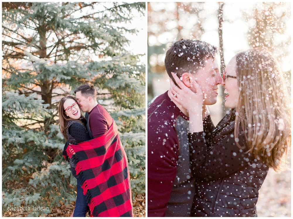 winter engagement photos in Kansas City