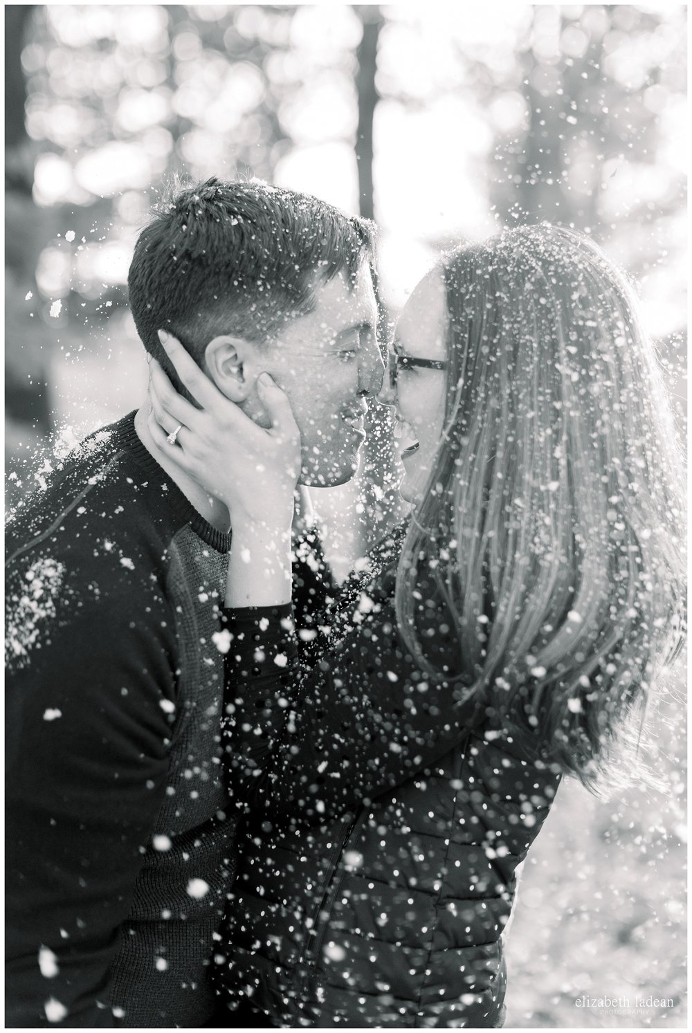 snowy engagement photos in Kansas City