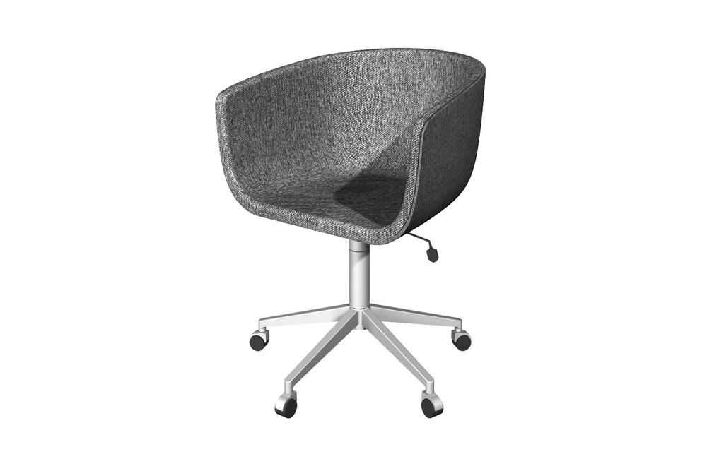 Initial Rendering For Coup Office Chair CB2 Upholstered Seat, Metal Swivel  Base And Casters