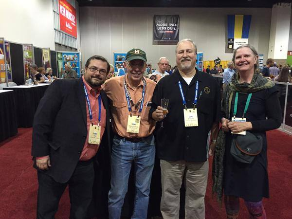 A not-so random photo. GABF bookstore, 2015. Three old farts and one of the young 'uns. Photo courtesy of Kristi Switzer, publisher at Brewers Publications.