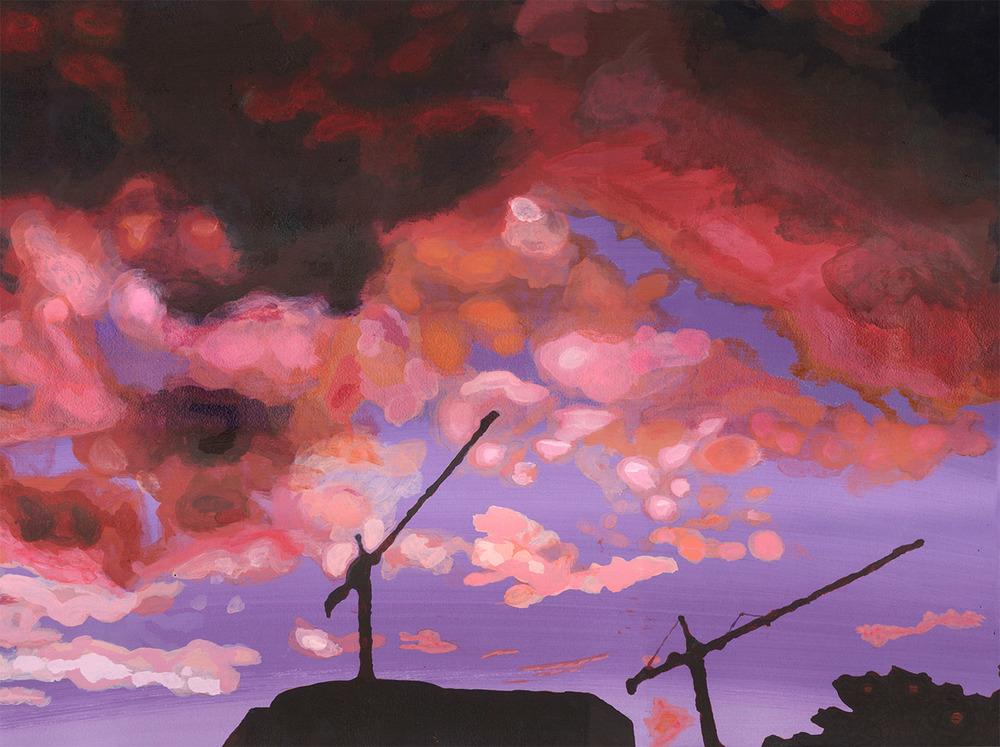 Slumbering cranes