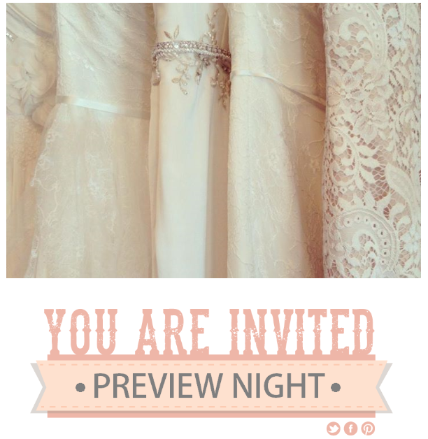 On THURSDAY, MAY 29th Time: 4:00 pm - 6:00 pm To kick off our trunk show, join us at J Bridal Boutique for a special preview! Enjoy champagne and sweets while you view the 2014 Spring Ti Adora collection. Please RSVP today! To view the collection online, click here. RSVP to Preview Night DURING PREVIEW NIGHT...   Don't miss the wonderful sales, savings & giveaways!